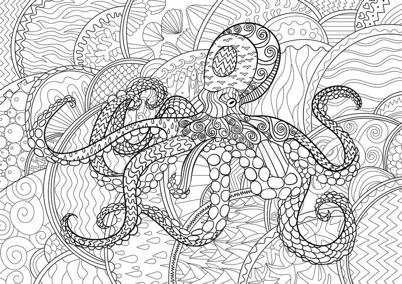 Abstract Octopus Coloring Pages