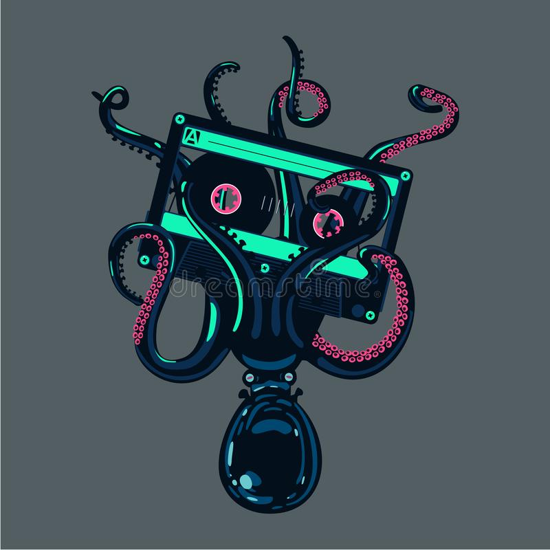 Octopus is holding a stereo cassette in tentacles. Old school hip-hop poster. royalty free illustration