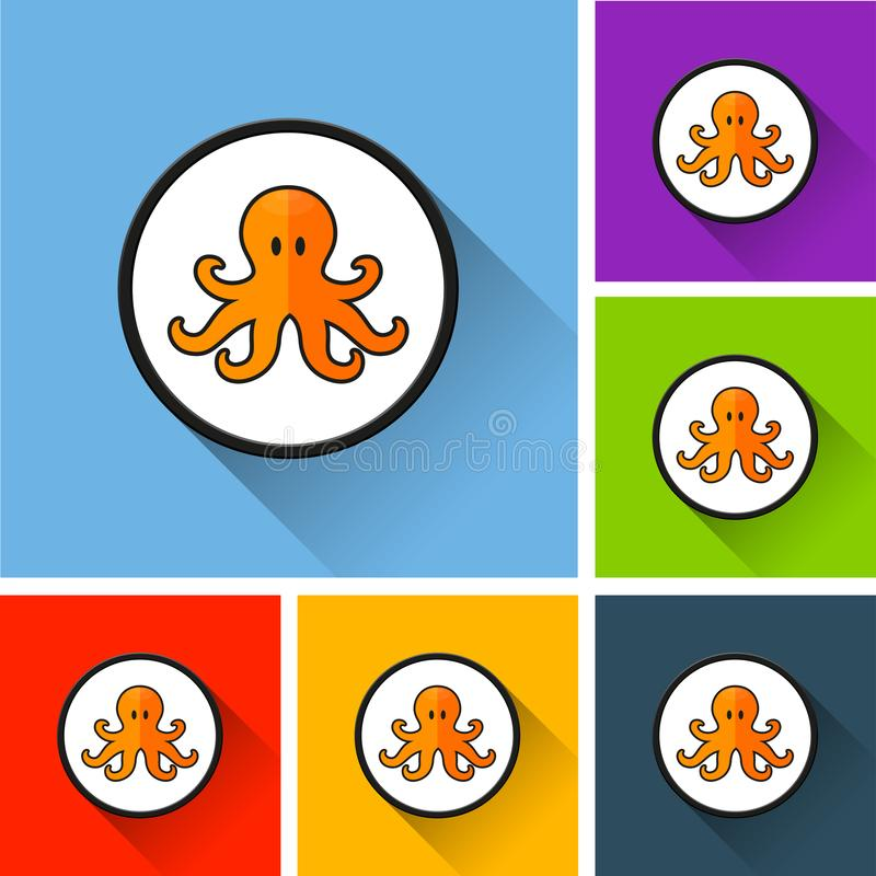 Octopus icons with long shadow stock illustration