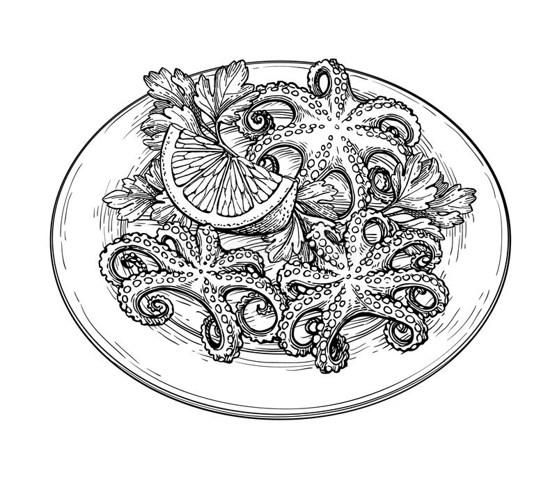 Octopus ink sketch. Octopus with lemon on a plate. Seafood ink sketch isolated on white background. Hand drawn vector illustration. Retro style. Editable stock illustration