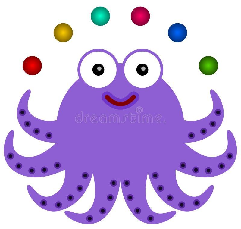 Octopus juggles royalty free illustration