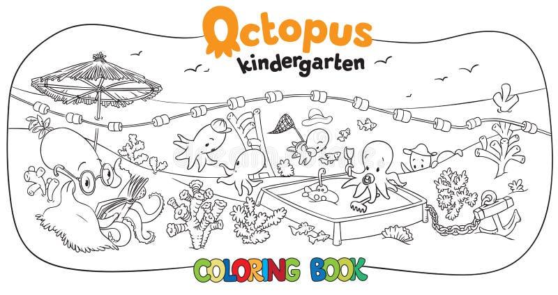 Octopus kindergarten coloring book royalty free illustration