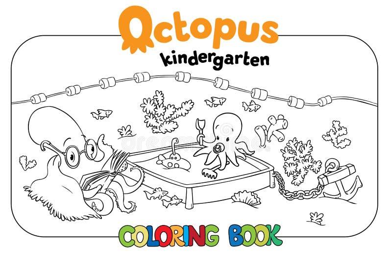 Octopus kindergarten coloring book stock illustration