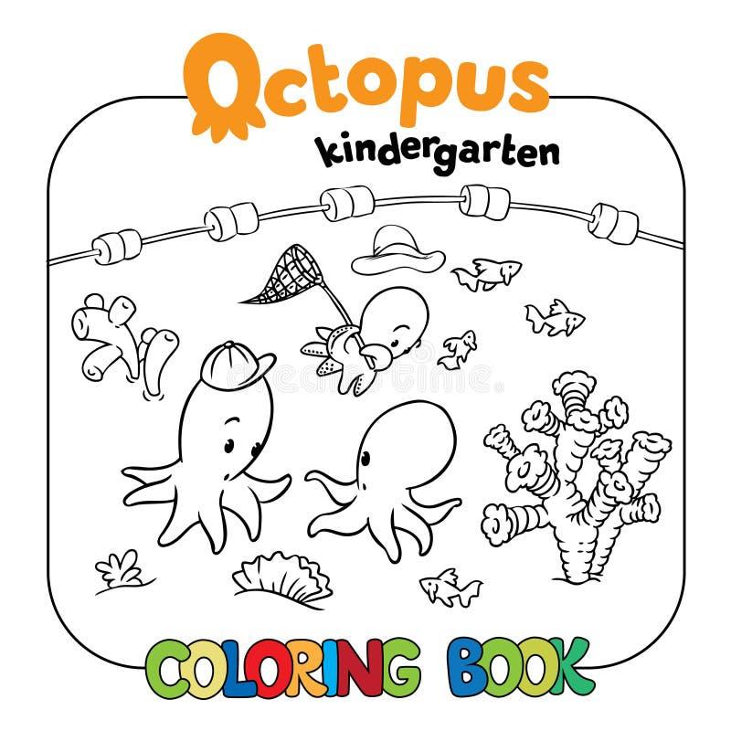 Octopus kindergarten coloring book vector illustration