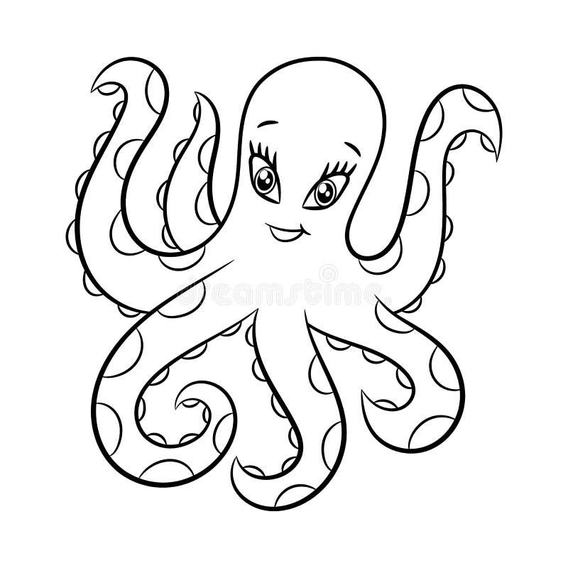 Octopus kleurend boek vector illustratie