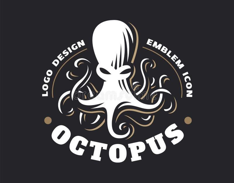 Octopus logo - vector illustration. Emblem design stock illustration