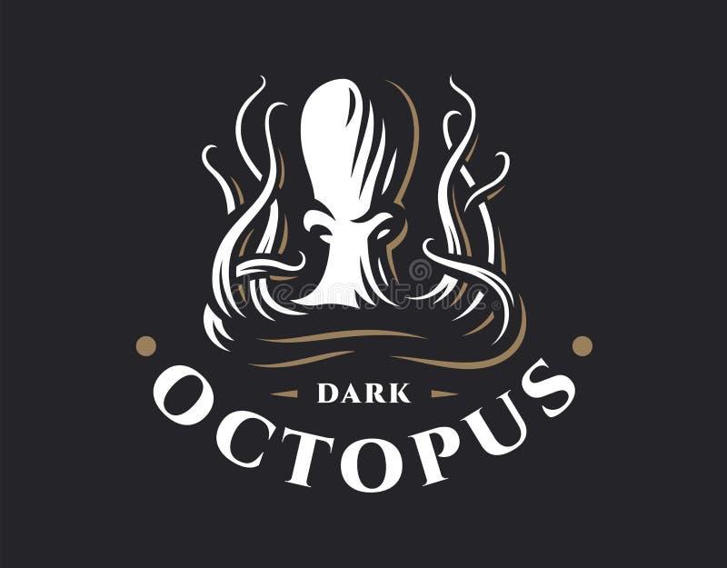 Octopus logo - vector illustration. Emblem design. On dark background stock illustration