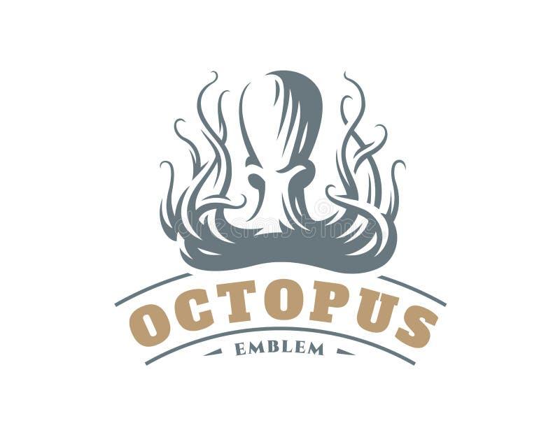 Octopus logo - vector illustration. Emblem design royalty free illustration
