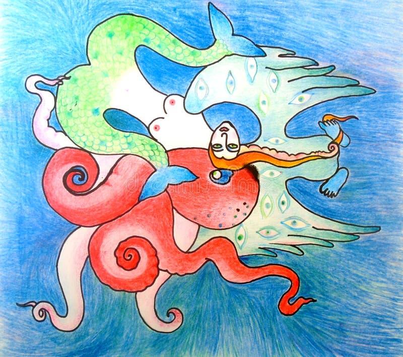 Octopus, meermin en magische vogel royalty-vrije stock foto