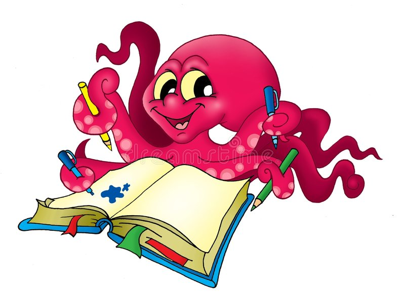 Octopus met potloden stock illustratie