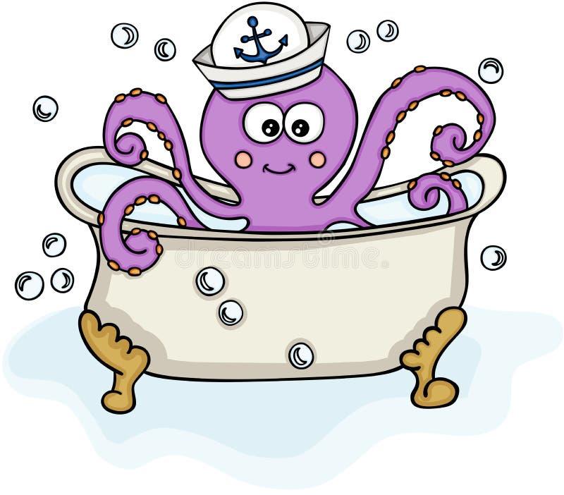 Octopus met zeemanshoed in badkuip royalty-vrije illustratie