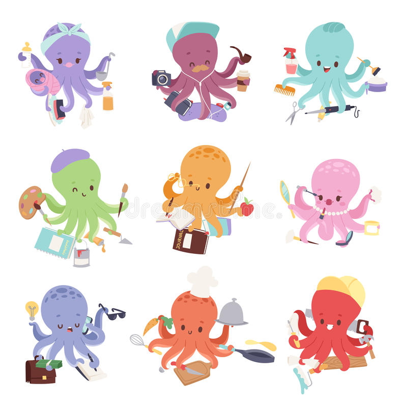 Octopus mollusk ocean coral reef animal character different pose like human and cartoon funny, graphic marine life vector illustration