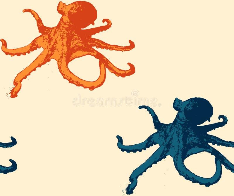 Octopus naadloos patroon stock afbeelding