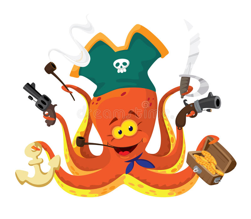 Octopus pirate royalty free illustration