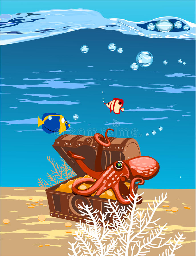 Download Octopus in the sea stock vector. Illustration of oxygen - 22964185