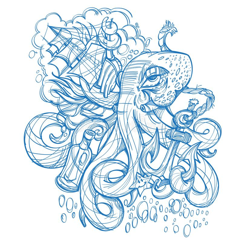 Octopus, a ship and a frigate anchored outline sketch of a tattoo. Monochrome illustration for design t-shirts and other items. Se. A monster sticker stock illustration