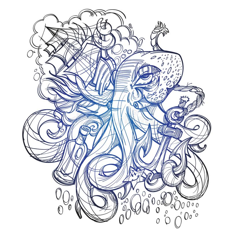 Octopus, a ship and a frigate anchored outline sketch of a tattoo. Monochrome illustration for design t-shirts and other items. Se. A monster sticker royalty free illustration