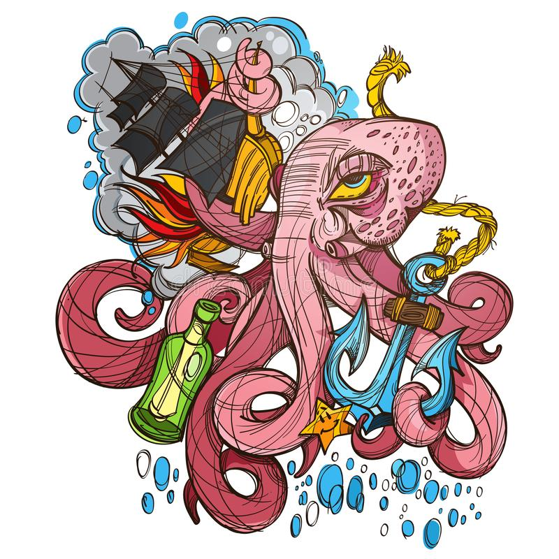 Octopus, a ship and a frigate anchored sketch of a tattoo. Illustration for design t-shirts and other items. Sea monster sticker.  stock illustration