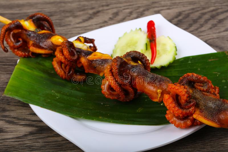 Octopus skewer stock images