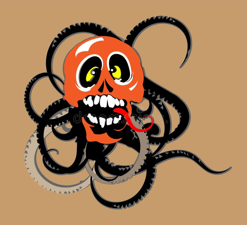 Octopus with skull and worms eye tattoo royalty free illustration