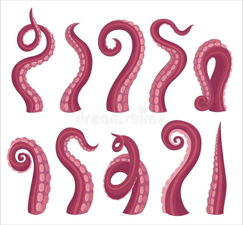 Free Octopus Tentacles Cartoon Color Vector Illustrations Set Stock Photography - 162744282