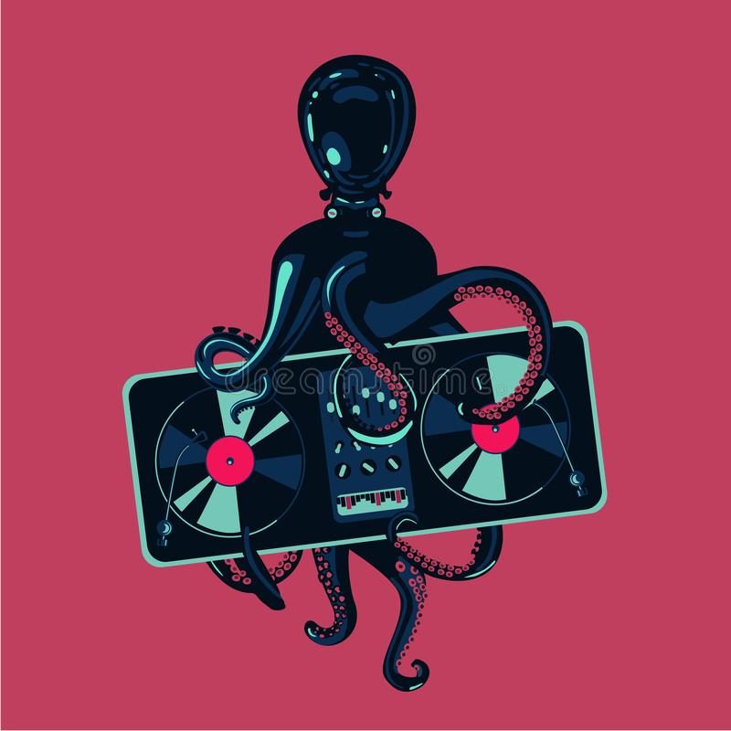 Octopus tentacles with vinyl record turntable. Hip-hop party poster template. Electronic music festival. vector illustration