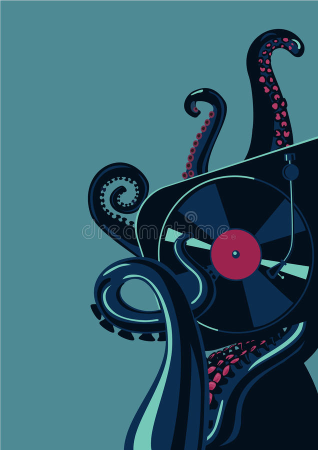 Octopus tentacles with vinyl record turntable. Party poster template. Party poster template with mixing deck. Octopus tentacles with vinyl record turntable vector illustration