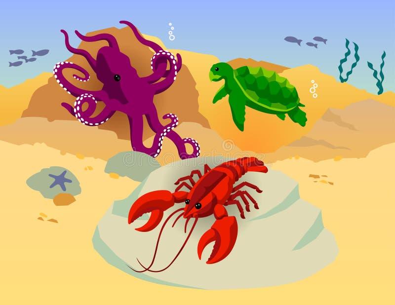 Octopus Turtle Lobster Ocean Vector Stock Photography
