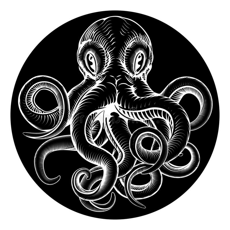 Octopus vintage woodcut engraved etched style vector illustration