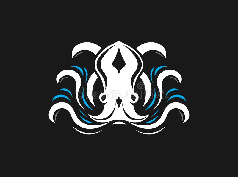 Octopus with waves logo vector illustration. Black background stock illustration