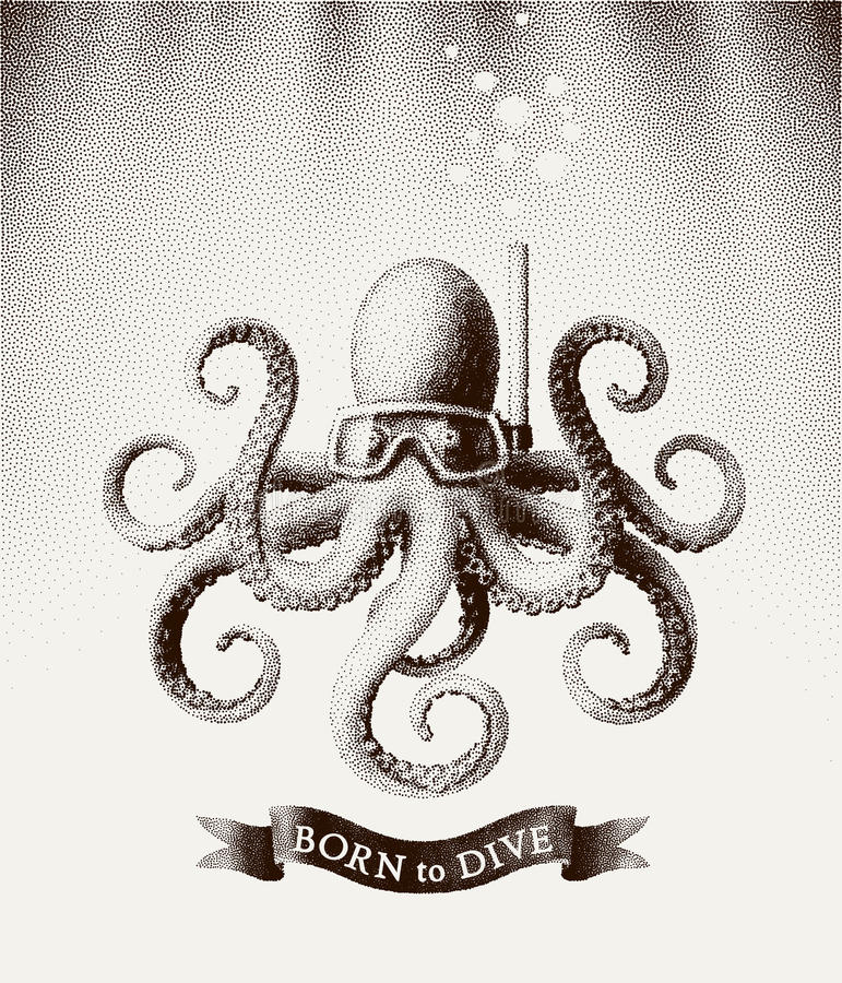 Octopus wearing a mask for diving under water. Vector illustration in style of vintage etchings stock illustration