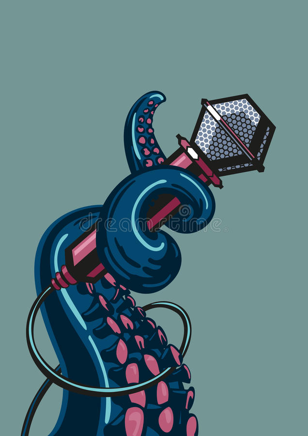 Octopus wit a microphone. Octopus tentacle is holding a microphone. A template for music posters. Live music concept royalty free illustration