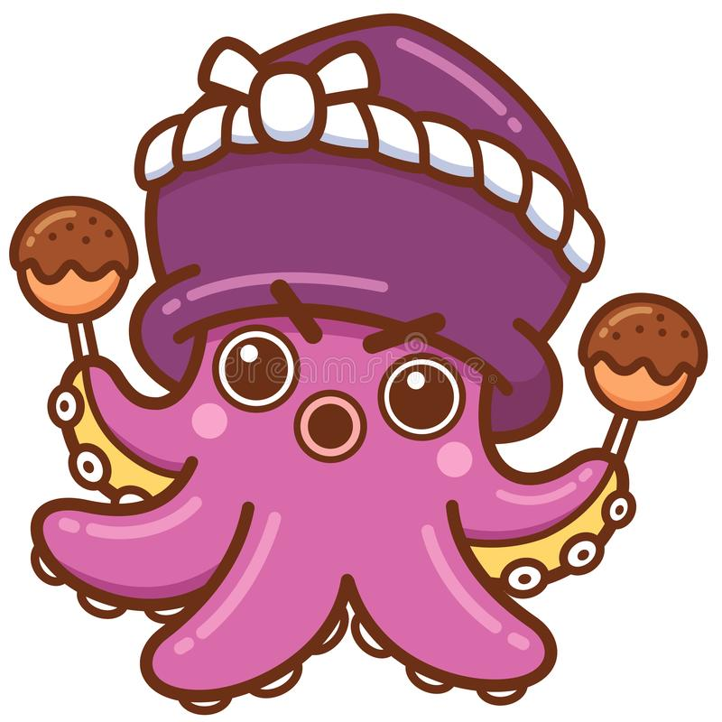 Octopuschef-kok stock illustratie