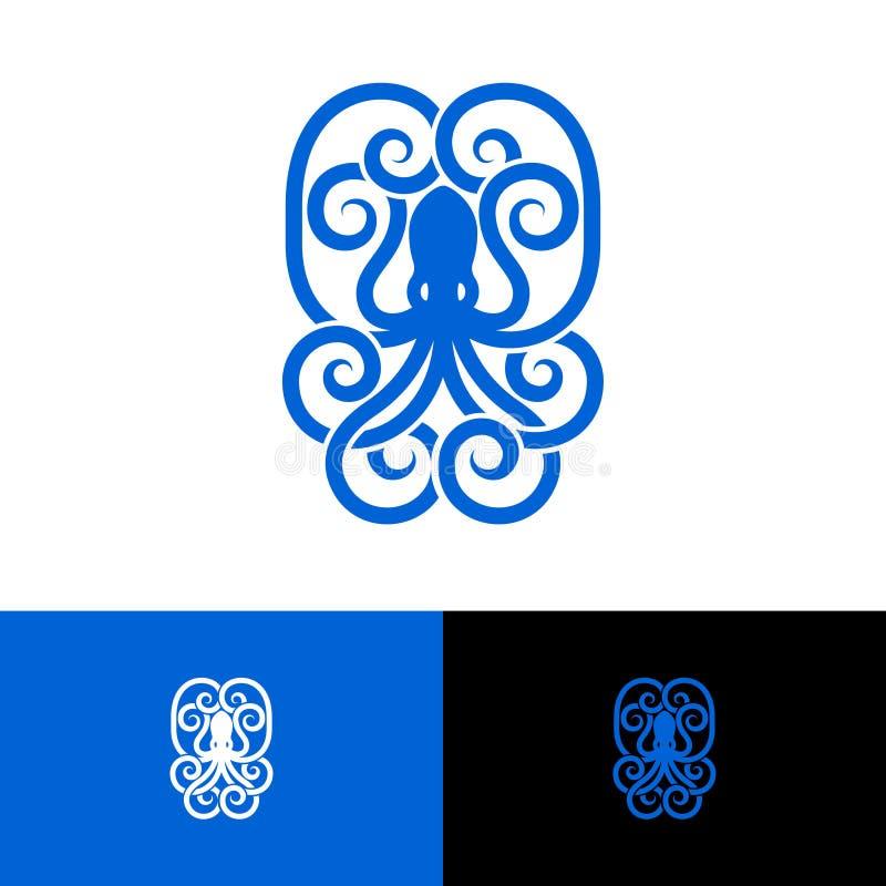 Octopusembleem Octopusembleem in een ovaal wordt ingeschreven dat stock illustratie