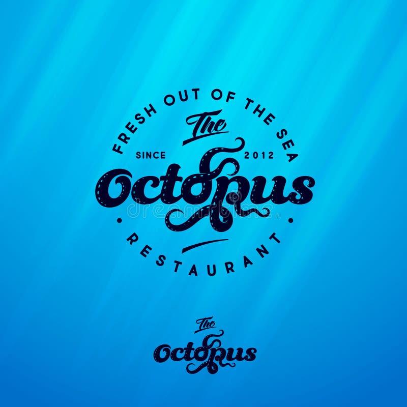 Octopusembleem Het embleem van het zeevruchtenrestaurant Tentakels van octopus en het van letters voorzien samenstelling royalty-vrije illustratie