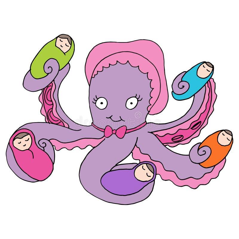 Octopuskindermeisje vector illustratie