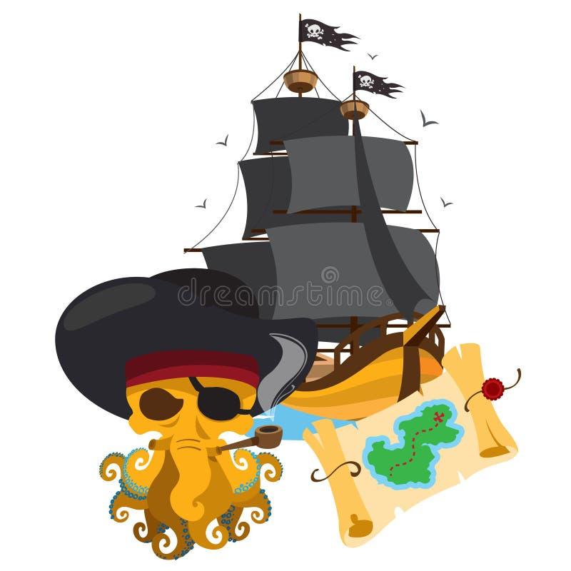 Octopuspiraat, piraatschip, schatkaart Het thema van de grafiekpiraat vector illustratie