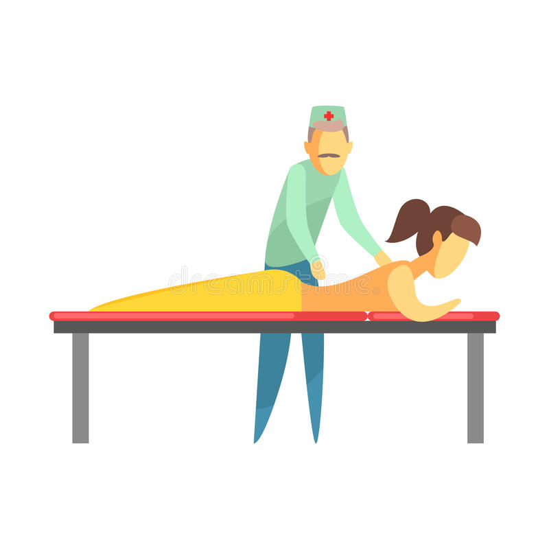 Octor examining back of a young woman lying on the couch. Colorful cartoon characters. Octor examining back of a young woman lying on the couch. Medical care royalty free illustration