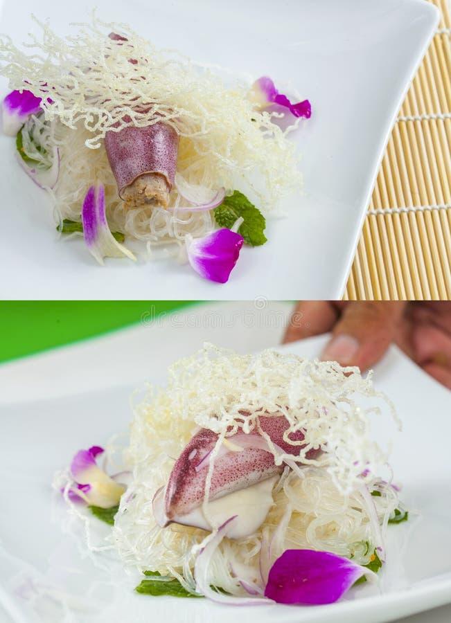 Octpus for japanese sashimi. Slices of fresh octpus for japanese sashimi stock image