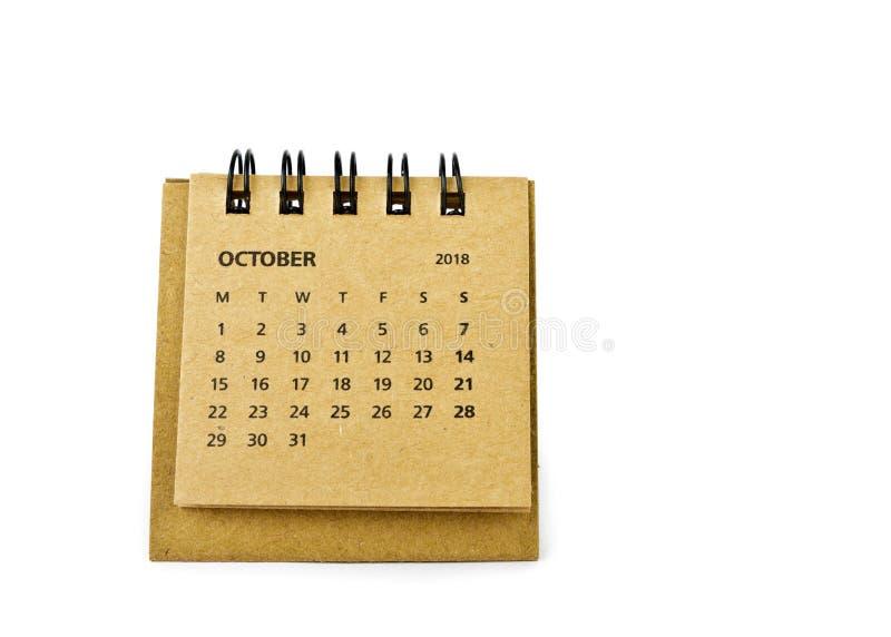 octubre Hoja del calendario en blanco fotografía de archivo