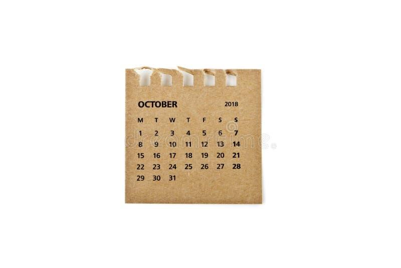 octubre Hoja del calendario en blanco fotografía de archivo libre de regalías