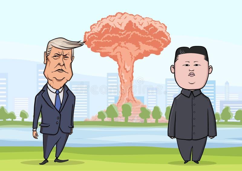 OCTUBRE, 30, 2017: La Jong-O.N.U de Donald Trump y de Kim delante de la explosión nuclear en el fondo de la ciudad Presidente Tru stock de ilustración