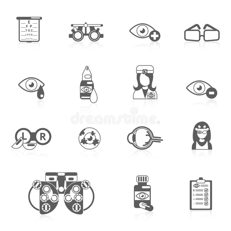 Oculist black icons. Oculist optometry vision correction eyes health black icons set isolated vector illustration royalty free illustration