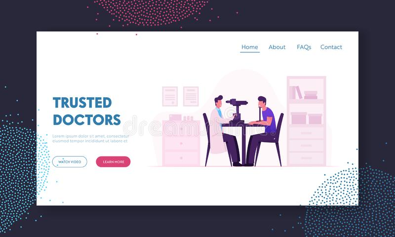 Oculist Checkup Eye Sight Website Landing Page. Ophthalmologist Doctor Check Eyesight for Eyeglasses Diopter. Professional Optician Exam Patient Web Page stock illustration