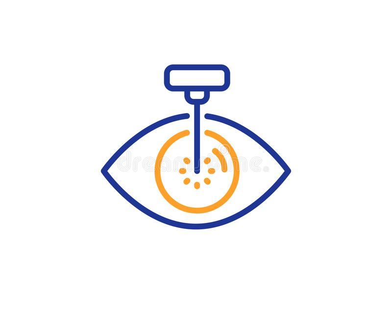 Eye laser surgery line icon. Oculist clinic sign. Optometry vision. Vector. Oculist clinic sign. Eye laser surgery line icon. Optometry vision symbol. Colorful vector illustration