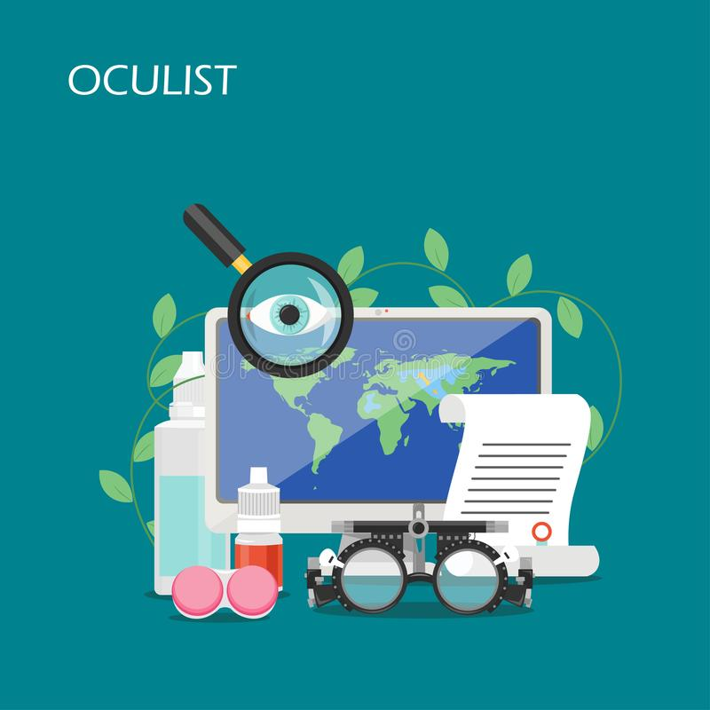 Oculist concept vector flat style design illustration. Oculist vector flat illustration. Computer, eye drops, contact lenses container and solution, prescription vector illustration