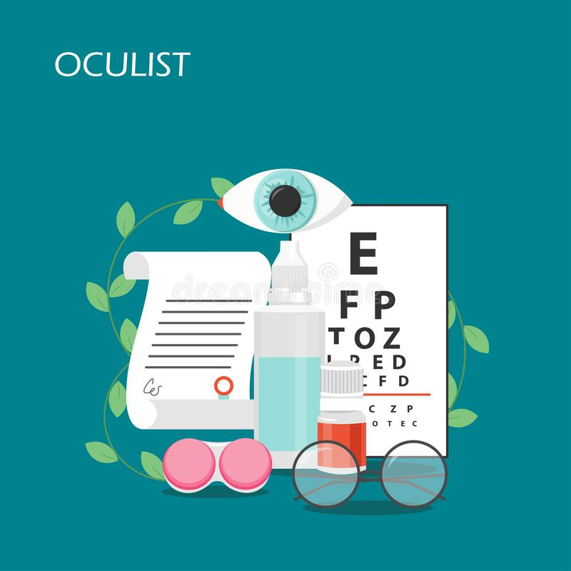 Oculist concept vector flat style design illustration. Oculist vector flat illustration. Eye test chart, eye drops, eyeglasses, contact lenses container and vector illustration