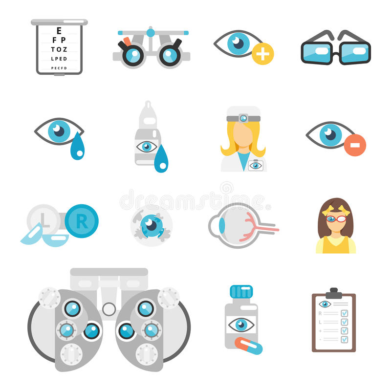 Oculist flat icons. Set with eye glasses lenses eyeball isolated vector illustration stock illustration