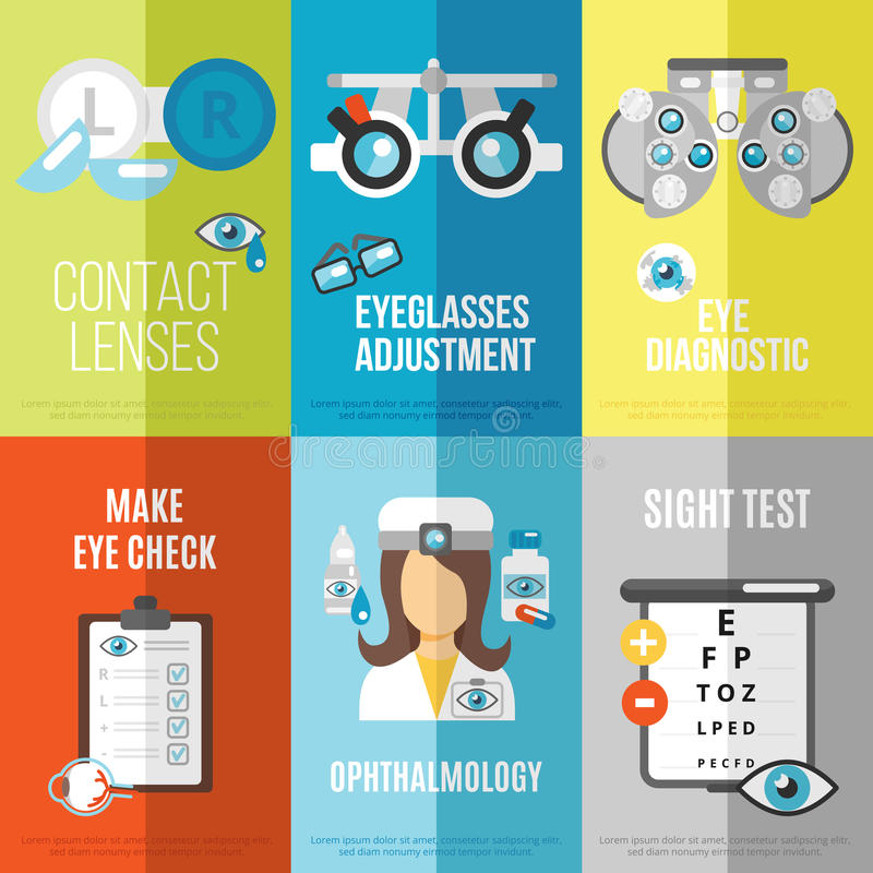 Oculist mini poster set. With ophthalmology sight test eyeglasses adjustment isolated vector illustration royalty free illustration