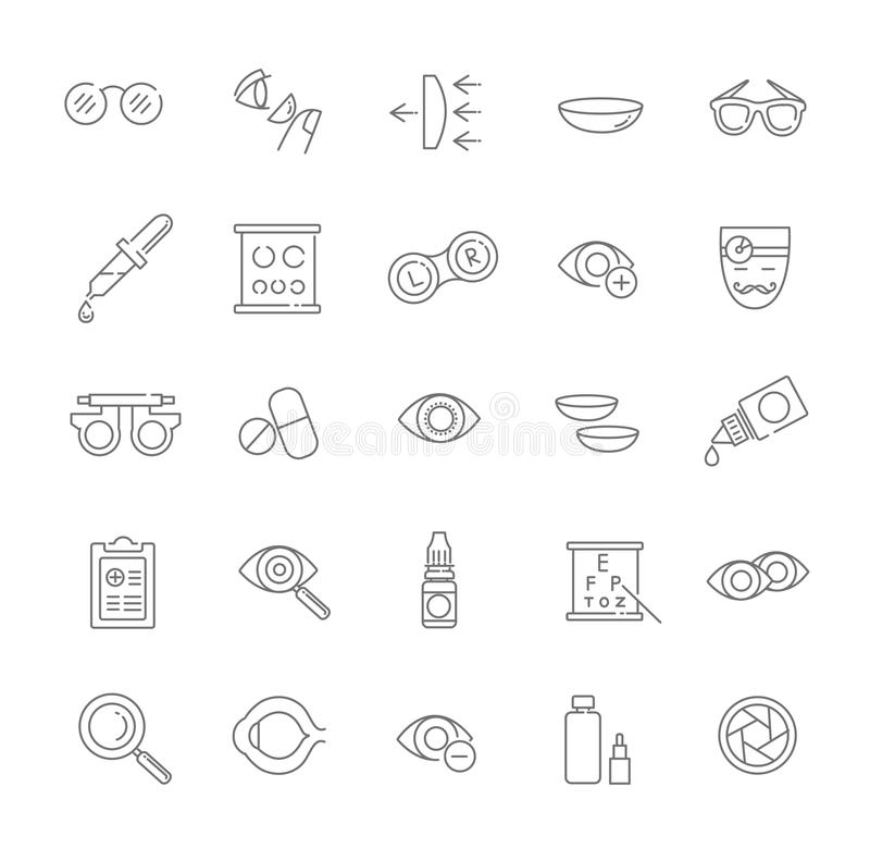 Oculist optometry vision correction eyes health black icons set vector illustration. Optometry vision correction eyes health line icons set stock illustration
